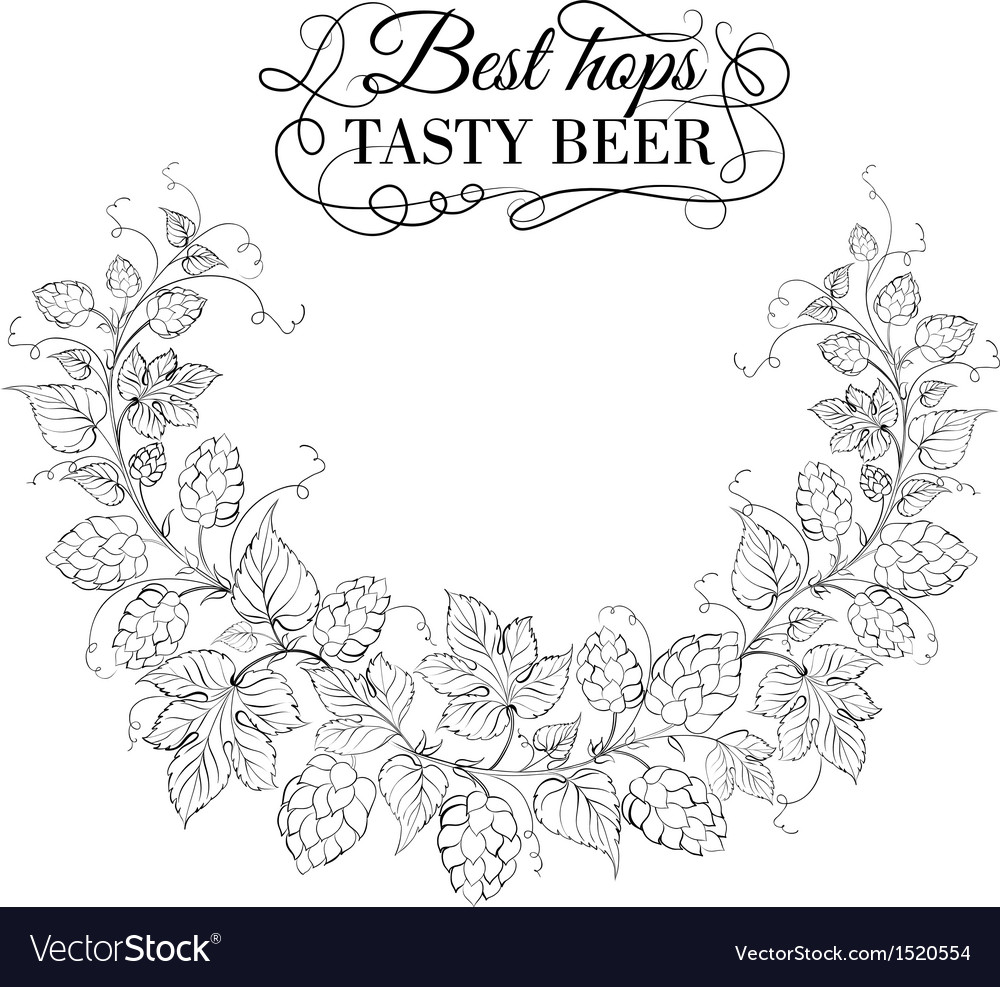 Hop garland on a white background vector | Price: 1 Credit (USD $1)