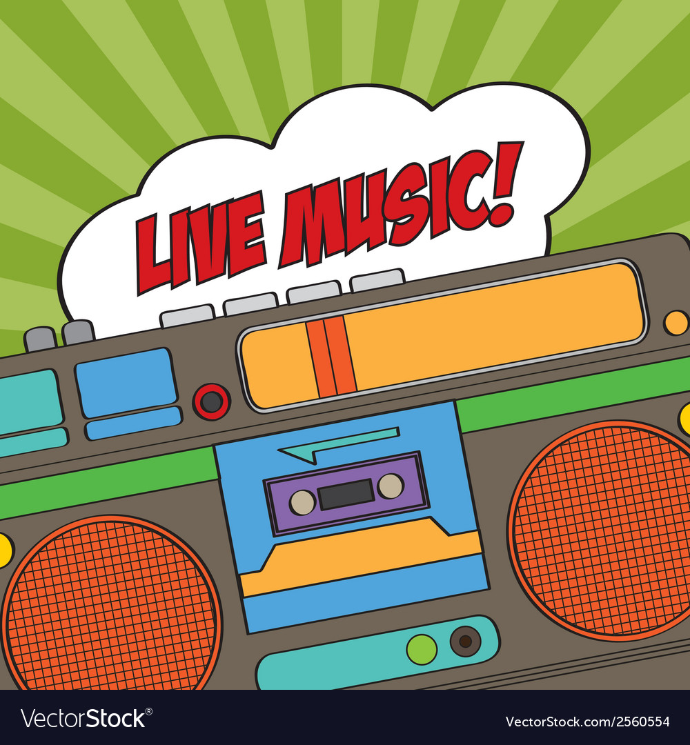 Musical background with retro boom-box vector | Price: 1 Credit (USD $1)