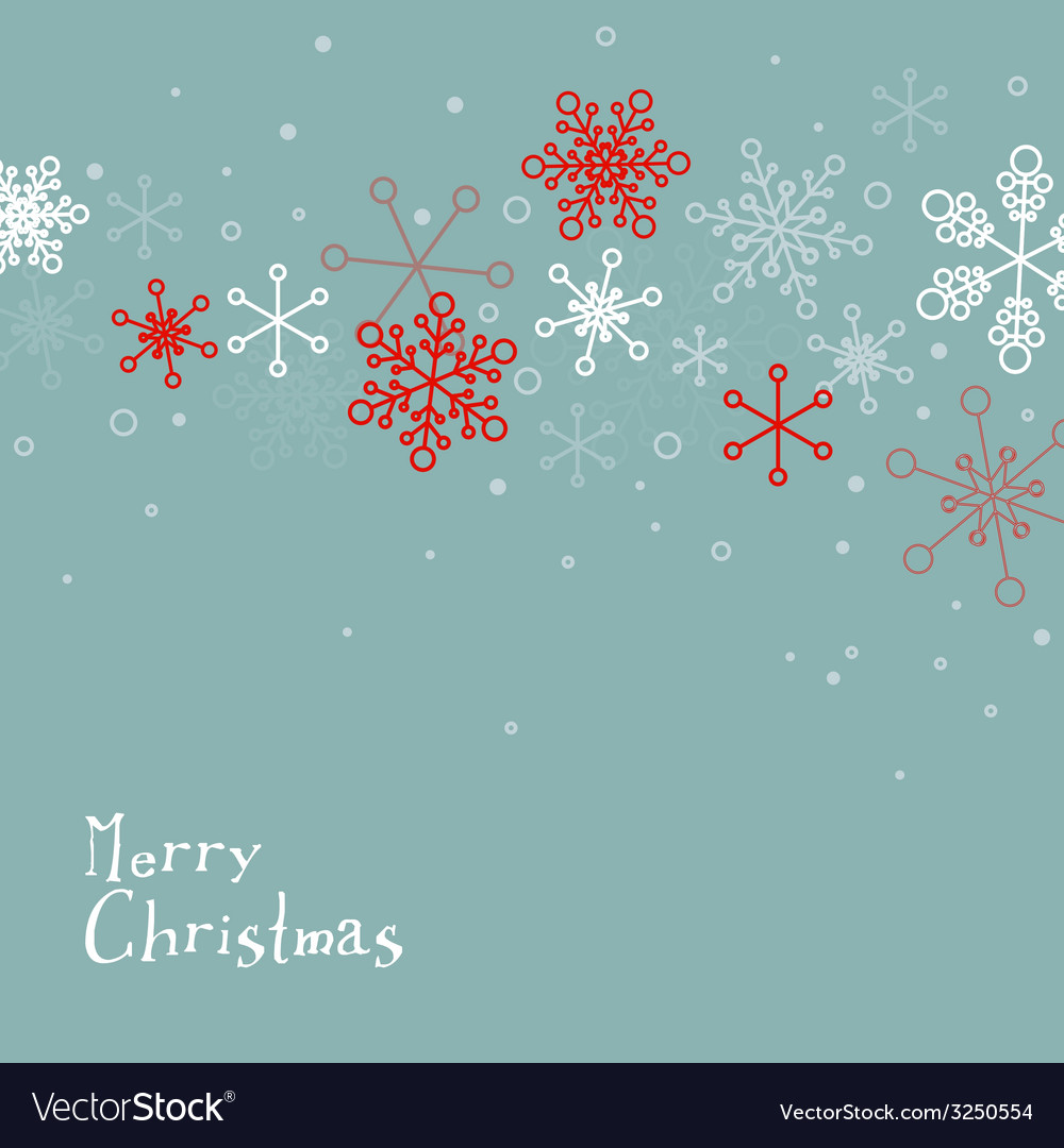 Retro simple christmas card with snowflakes vector | Price: 1 Credit (USD $1)
