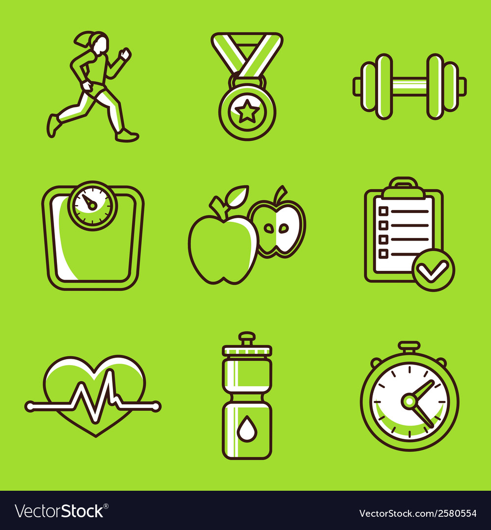 Set of fitness icons vector | Price: 1 Credit (USD $1)