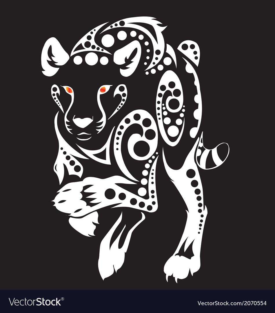 Tiger run tribal vector | Price: 1 Credit (USD $1)