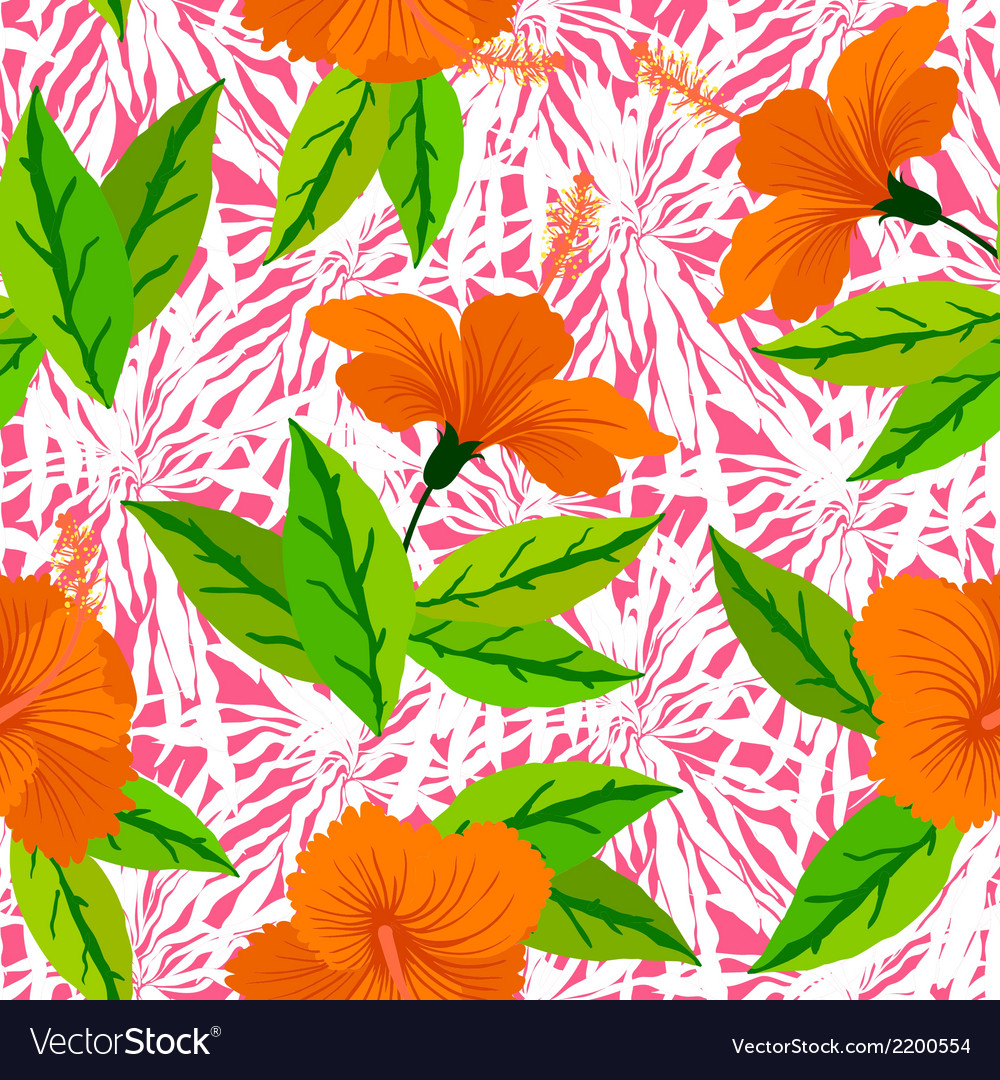 Tropical pattern with orange hibiscus flowers vector | Price: 1 Credit (USD $1)