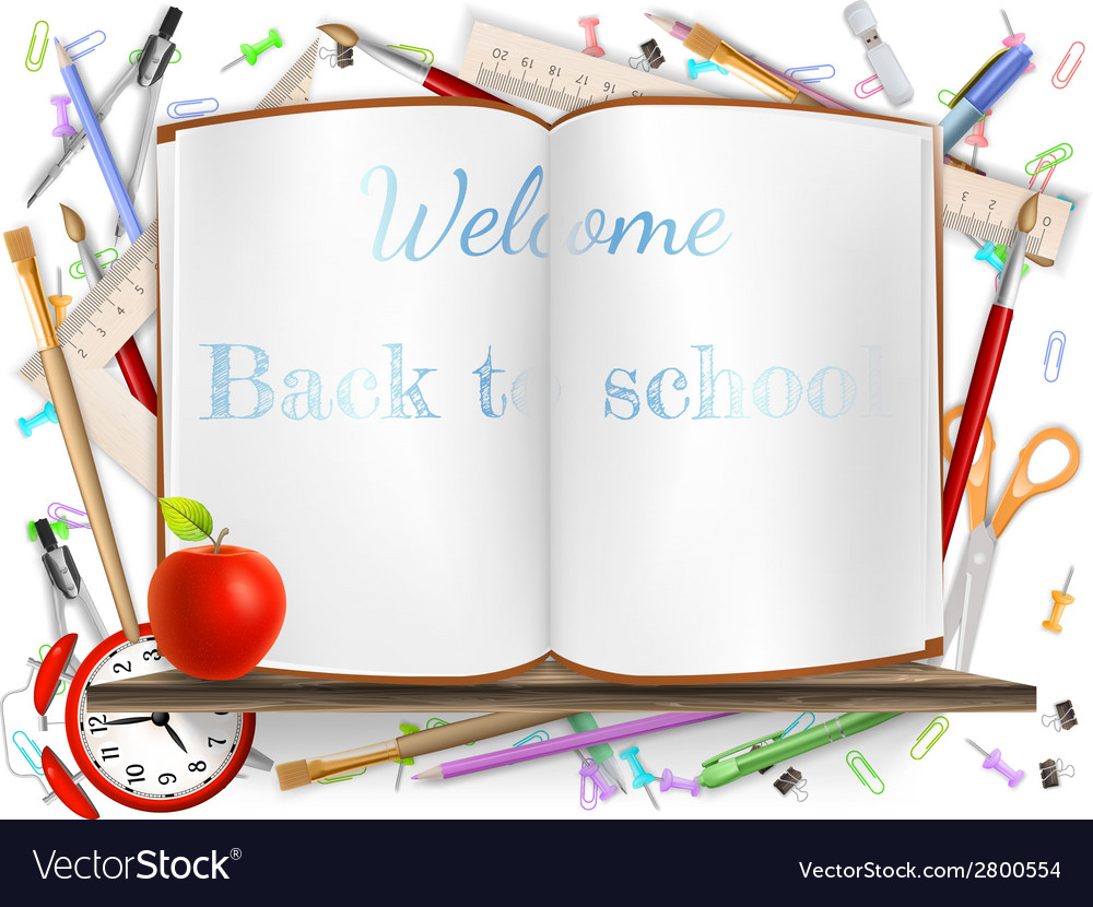Welcome back to school supplies eps 10 vector | Price: 1 Credit (USD $1)