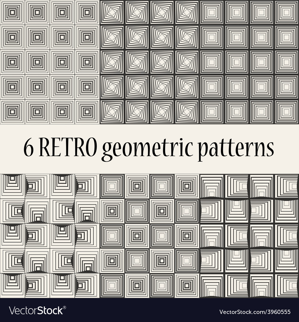 6 retro geometric seamless patterns vector | Price: 1 Credit (USD $1)