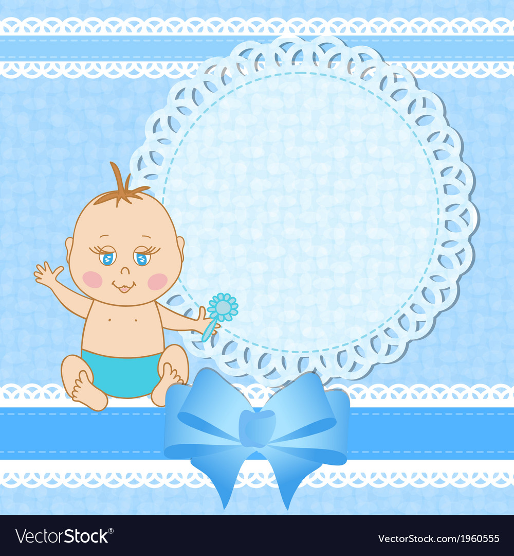 Baby shower greeting card for baby boy vector | Price: 1 Credit (USD $1)