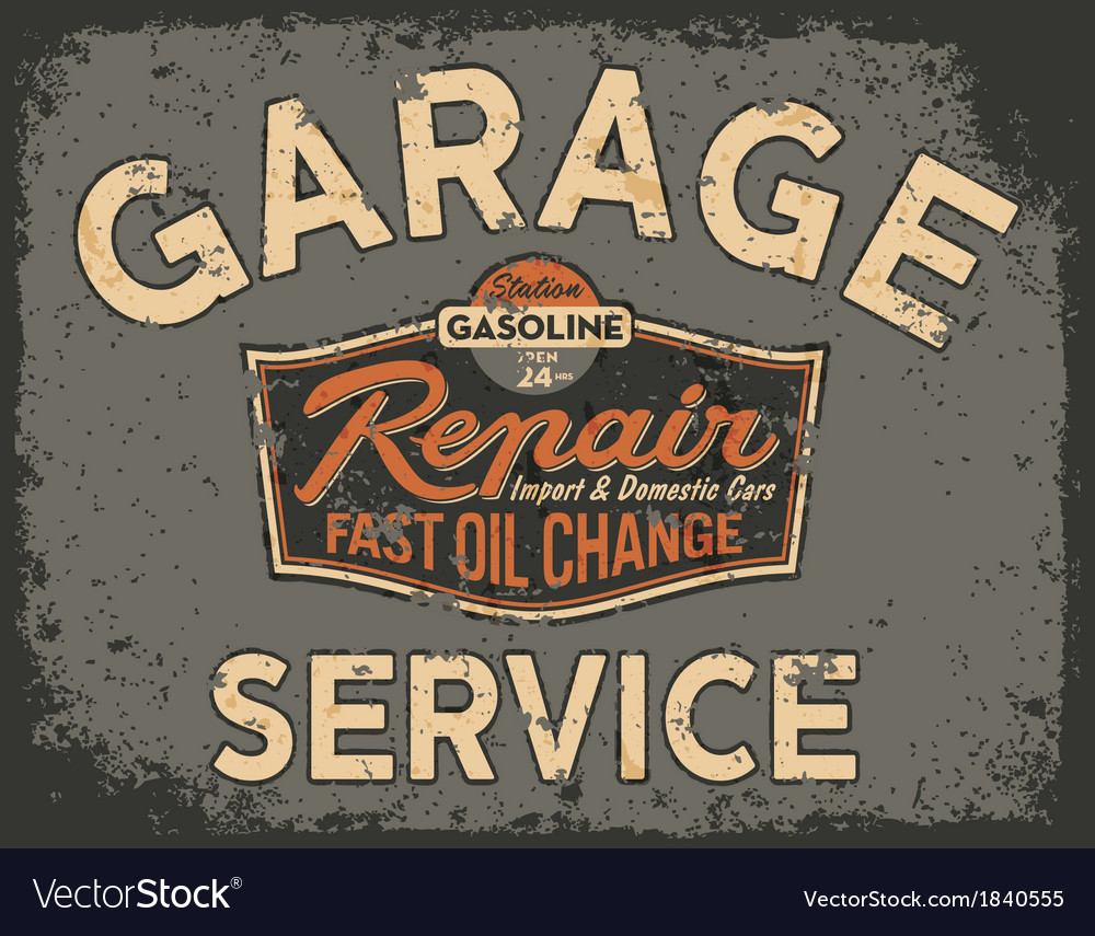 Car service vintage signboard vector | Price: 1 Credit (USD $1)