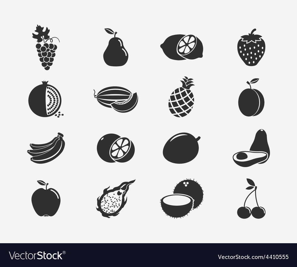 Fruit silhouettes icons vector | Price: 1 Credit (USD $1)