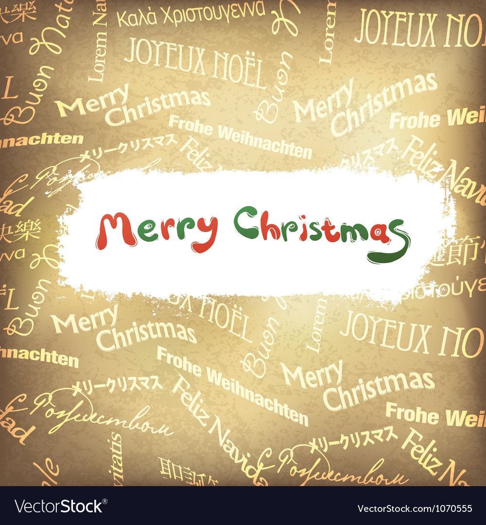 Golden multilingual greetings christmas background vector | Price: 1 Credit (USD $1)