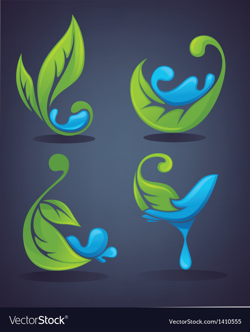 Green leaves and water drops vector | Price: 1 Credit (USD $1)