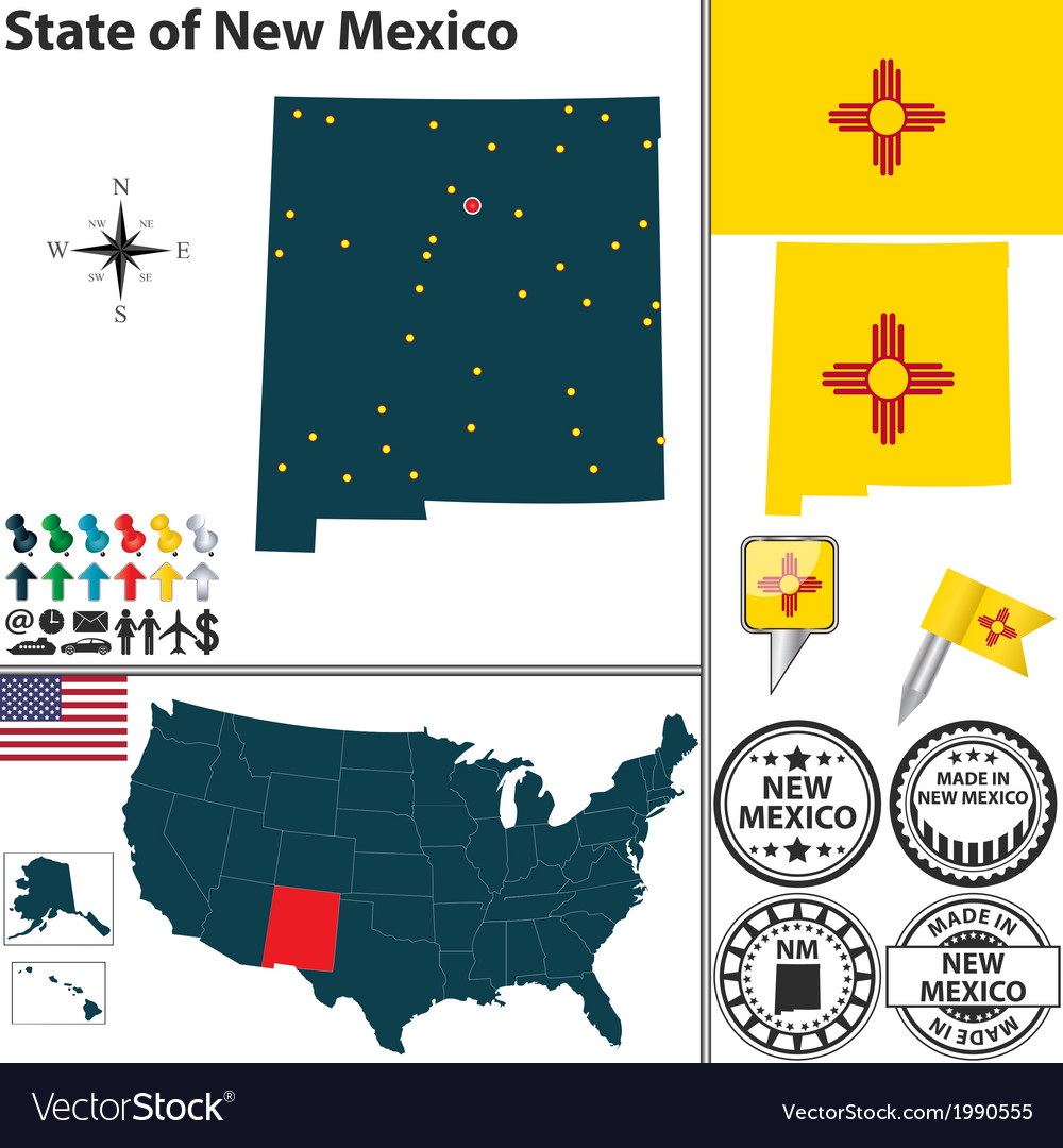 Map of new mexico vector | Price: 1 Credit (USD $1)