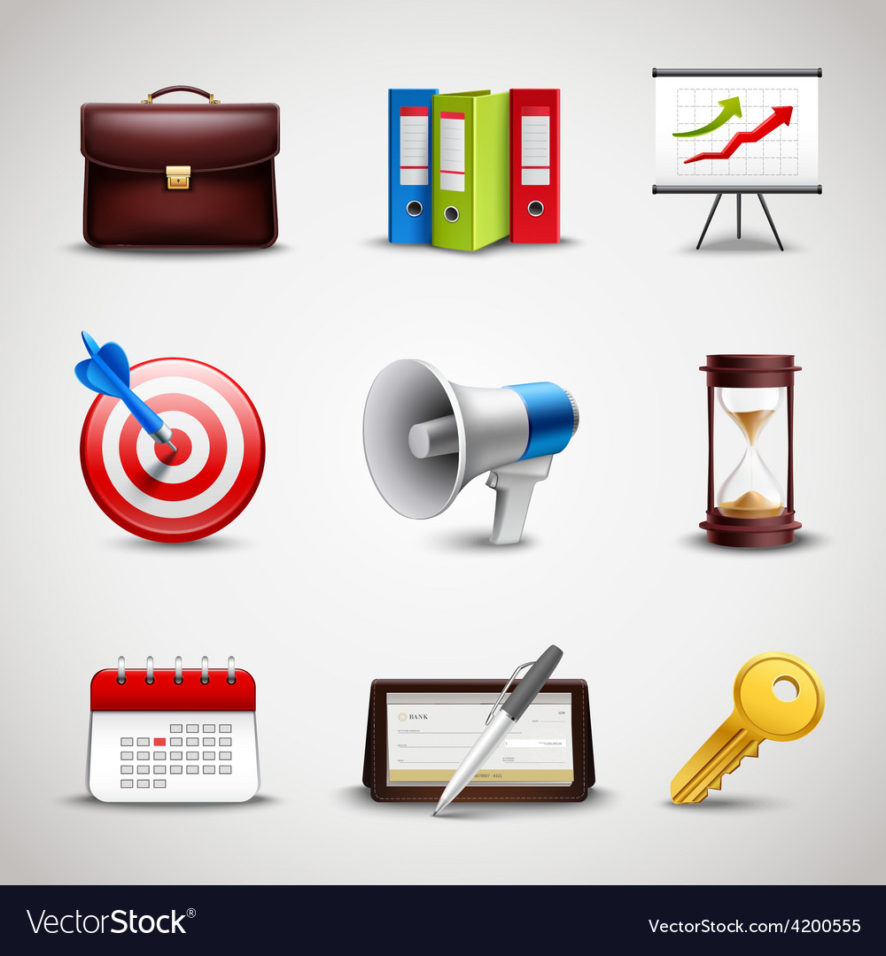 Realistic business icons vector   Price: 1 Credit (USD $1)