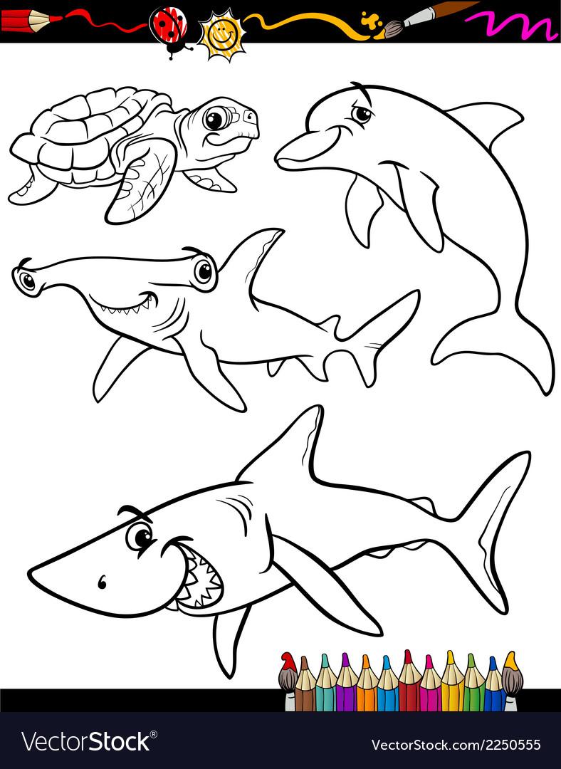 Sea life animals cartoon coloring book vector | Price: 1 Credit (USD $1)