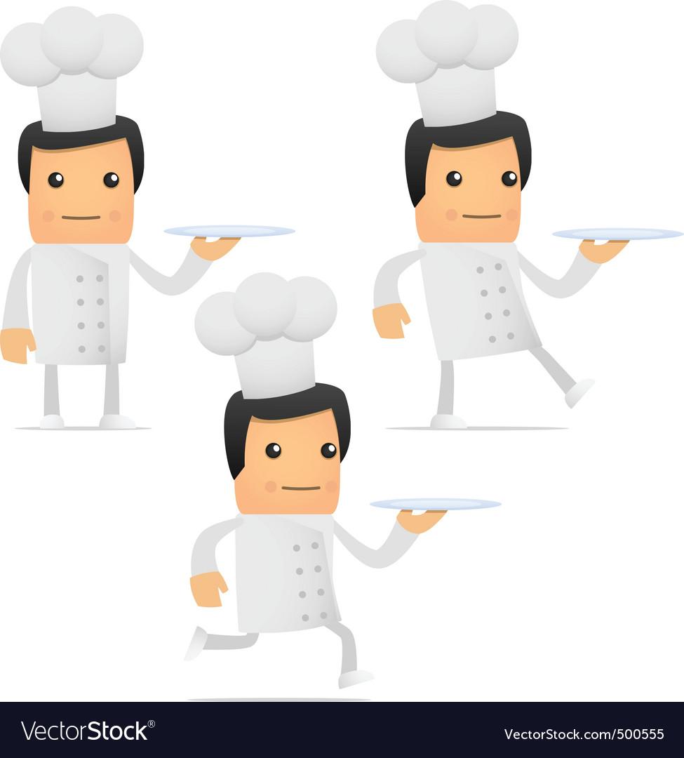 Set of funny cartoon chef vector | Price: 1 Credit (USD $1)