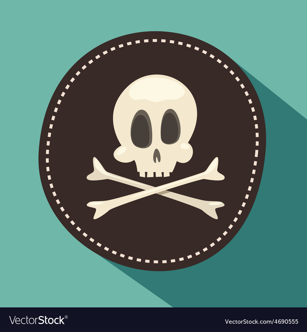 Skull and bones jolly roger - pirate icon black vector | Price: 1 Credit (USD $1)