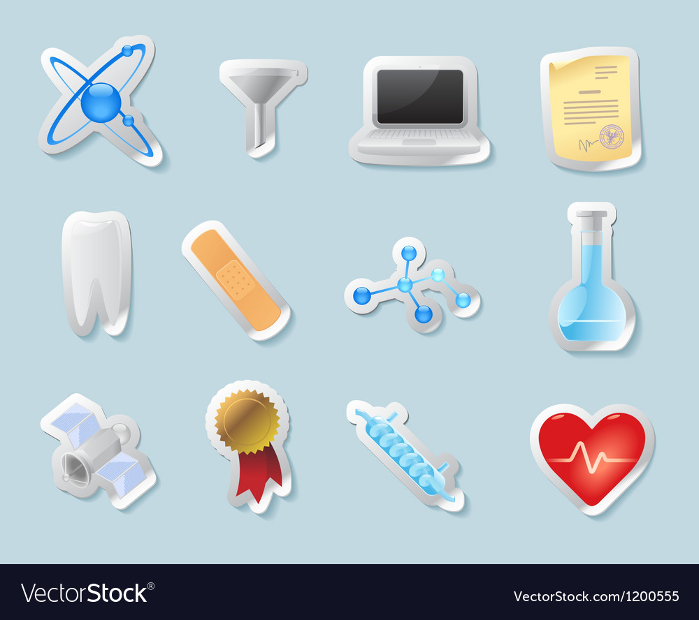 Sticker icons for science and education vector | Price: 1 Credit (USD $1)