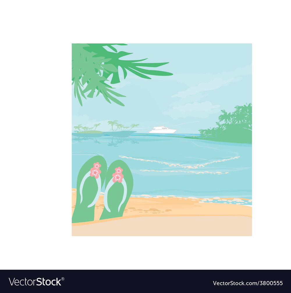 Summer holiday background with footprints vector | Price: 1 Credit (USD $1)