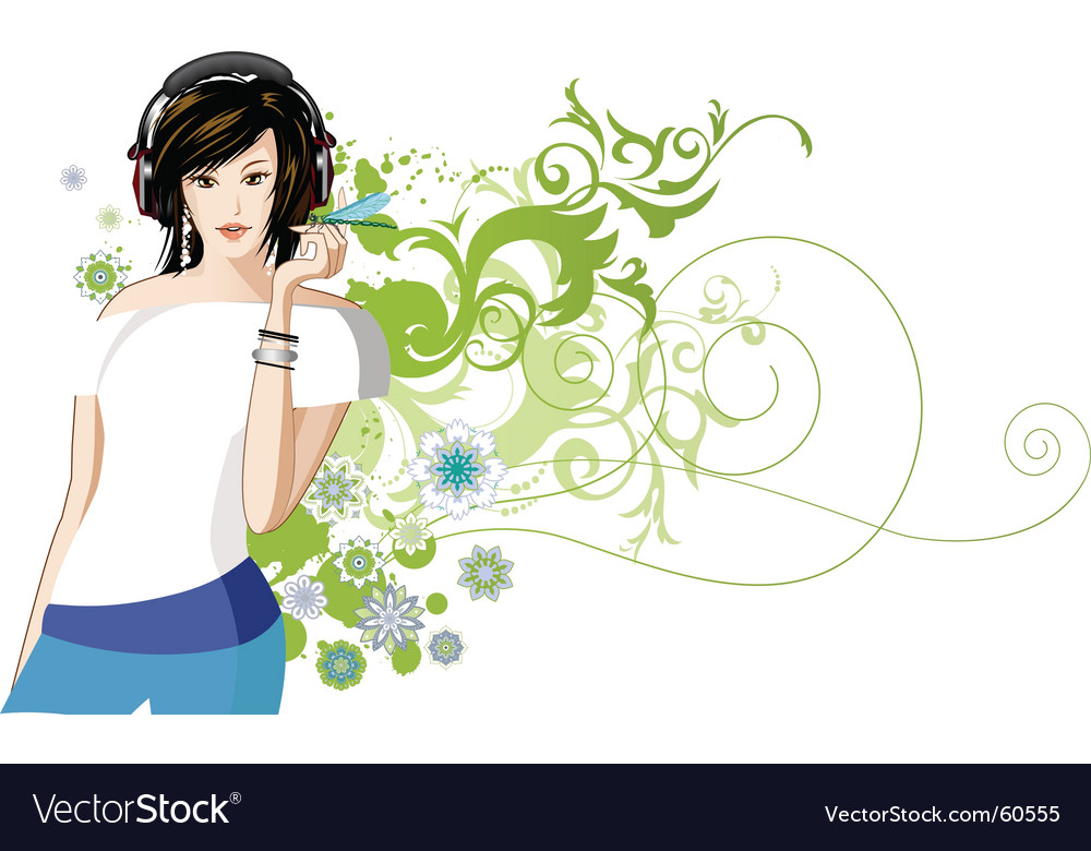 Women is listening to music vector | Price: 5 Credit (USD $5)