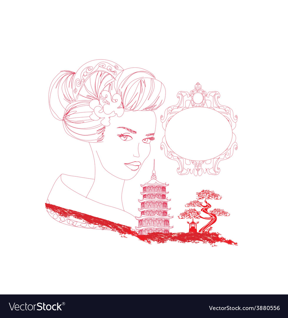 Abstract asian landscape and beautiful geisha - vector | Price: 1 Credit (USD $1)