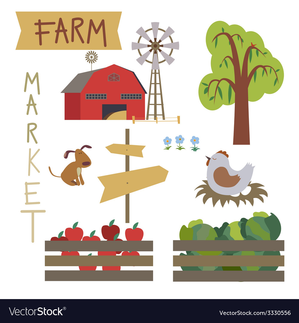 Farmer market set vector | Price: 1 Credit (USD $1)