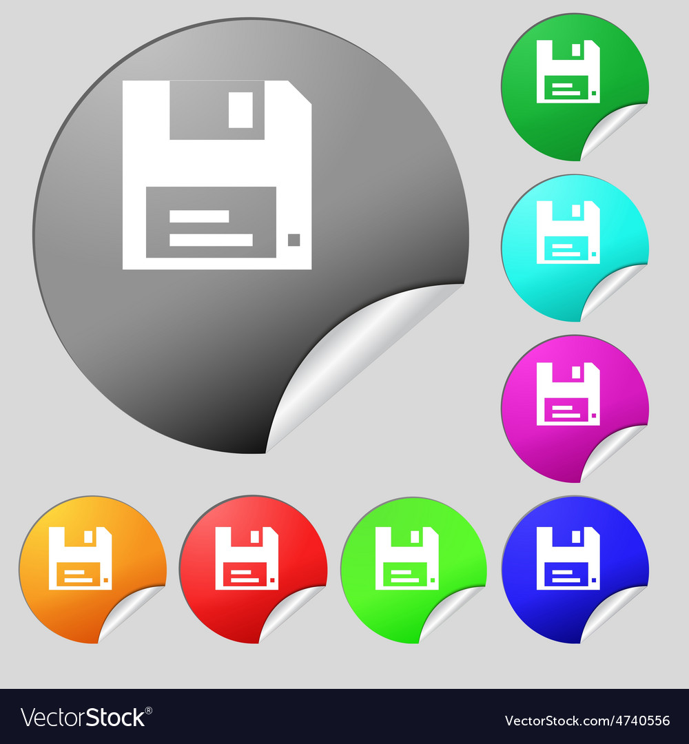 Floppy icon sign set of eight multi-colored round vector | Price: 1 Credit (USD $1)