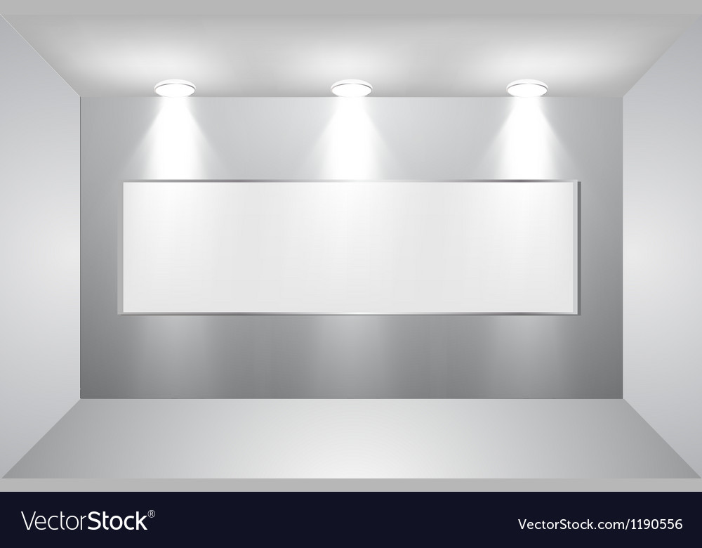 Gallery interior with empty frame on wall vector | Price: 1 Credit (USD $1)