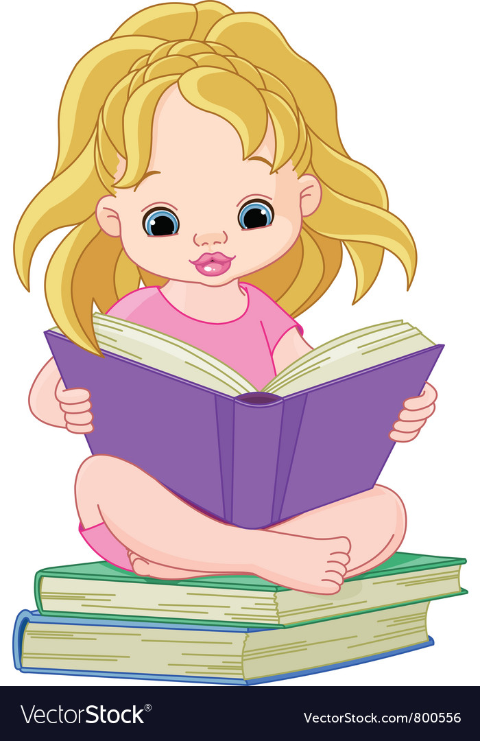 Ittle girl reading a book vector | Price: 3 Credit (USD $3)