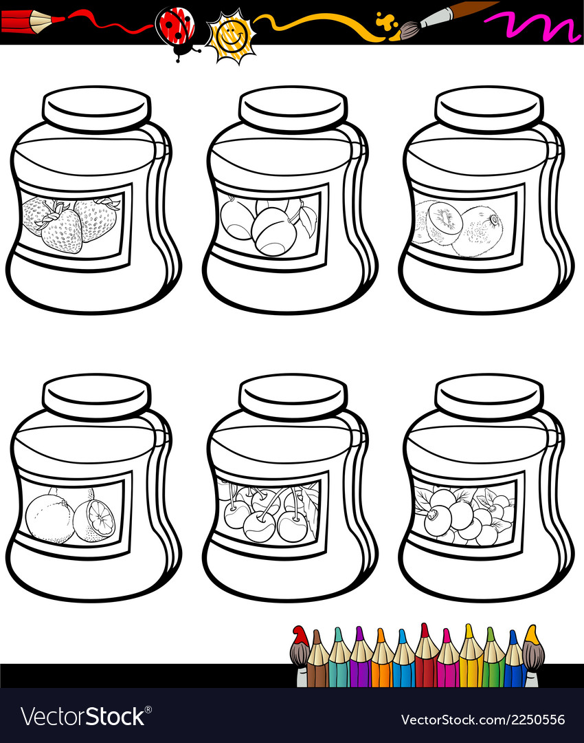 Jams in jars set cartoon coloring book vector | Price: 1 Credit (USD $1)