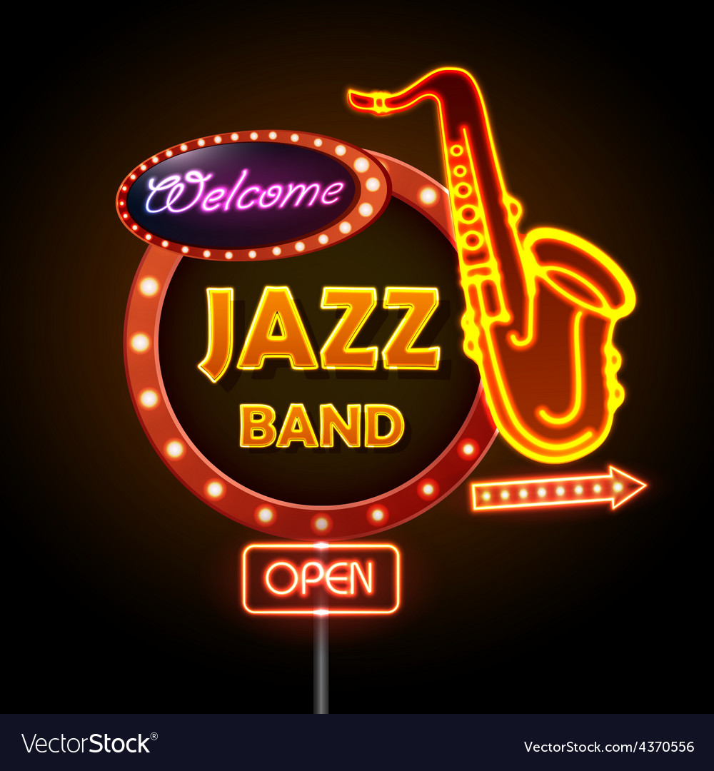 Neon sign jazz band vector | Price: 3 Credit (USD $3)