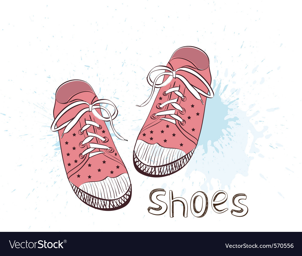 Pink childrens shoes vector | Price: 1 Credit (USD $1)
