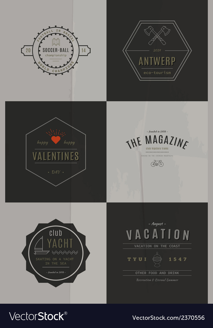 Trendy retro vintage insignias bundle vector | Price: 1 Credit (USD $1)