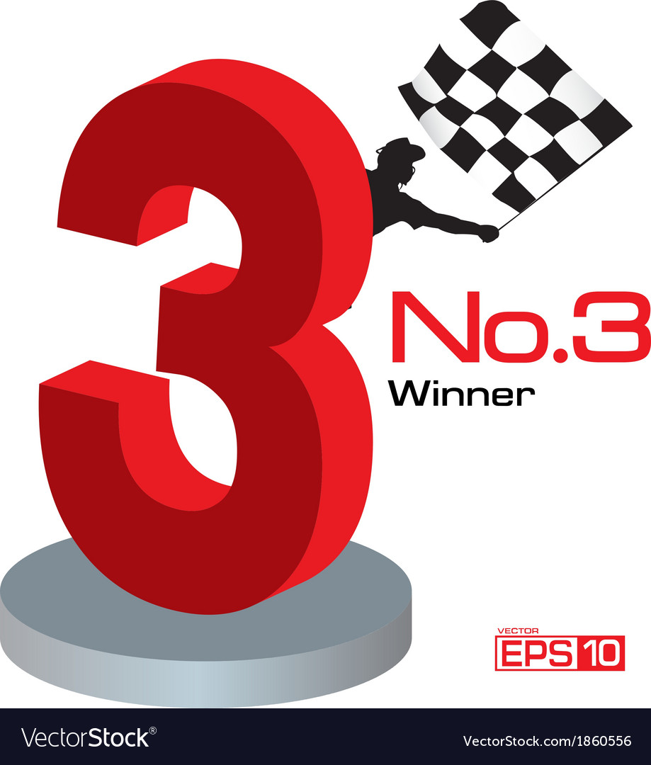 Trophy winner number 3 vector | Price: 1 Credit (USD $1)