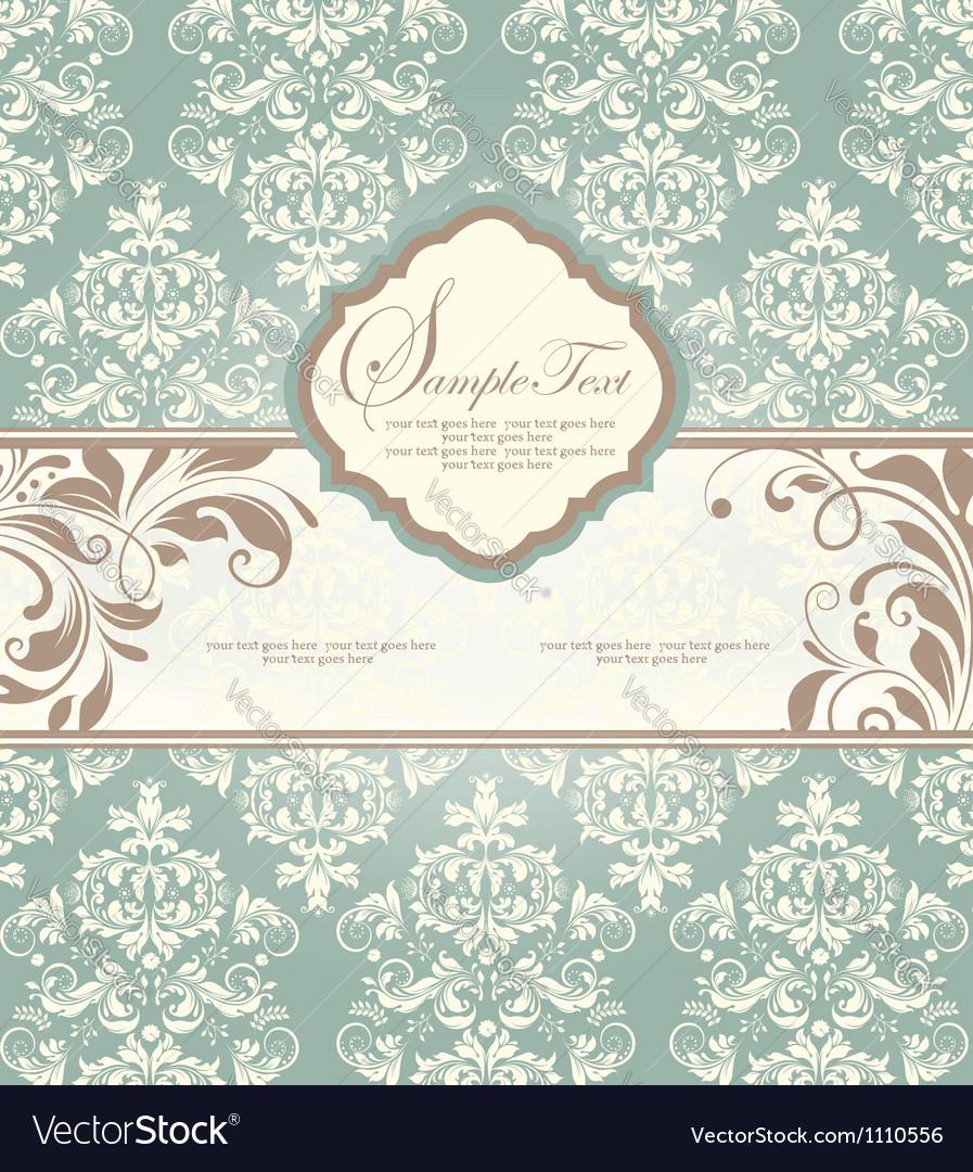 Vintage blue damask invitation with floral element vector   Price: 1 Credit (USD $1)