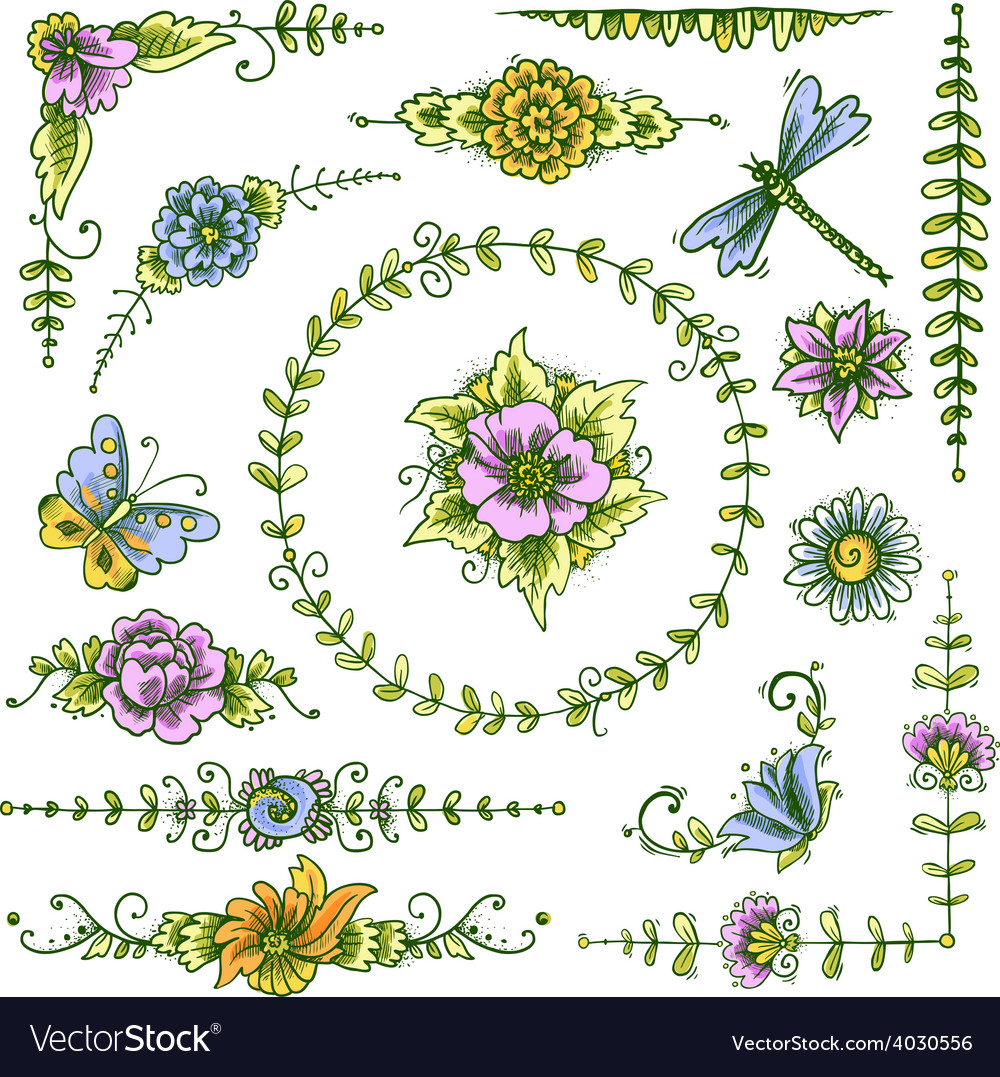 Vintage decorative elements color vector | Price: 1 Credit (USD $1)