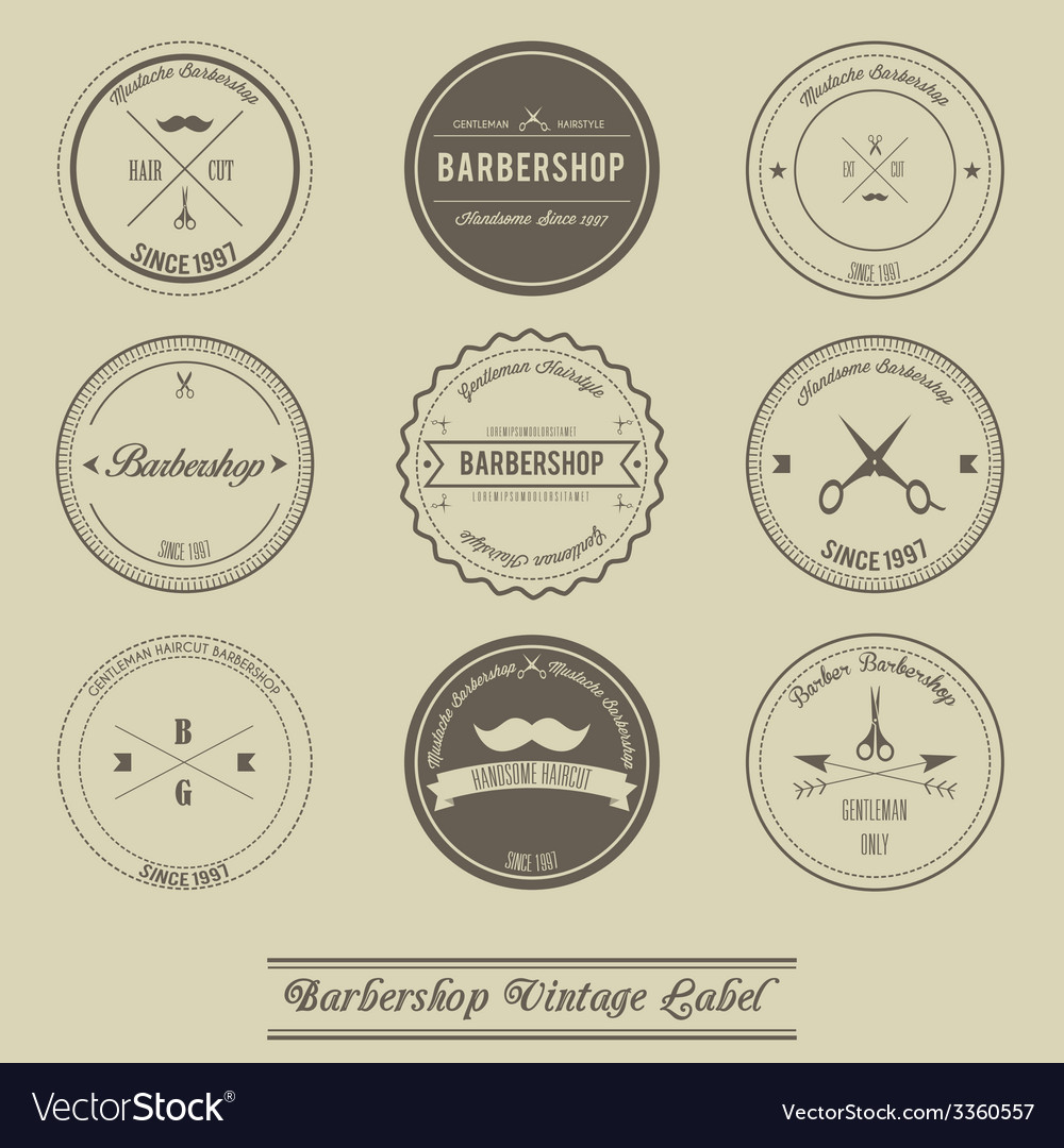 Barbershop vintage label design vector | Price: 1 Credit (USD $1)