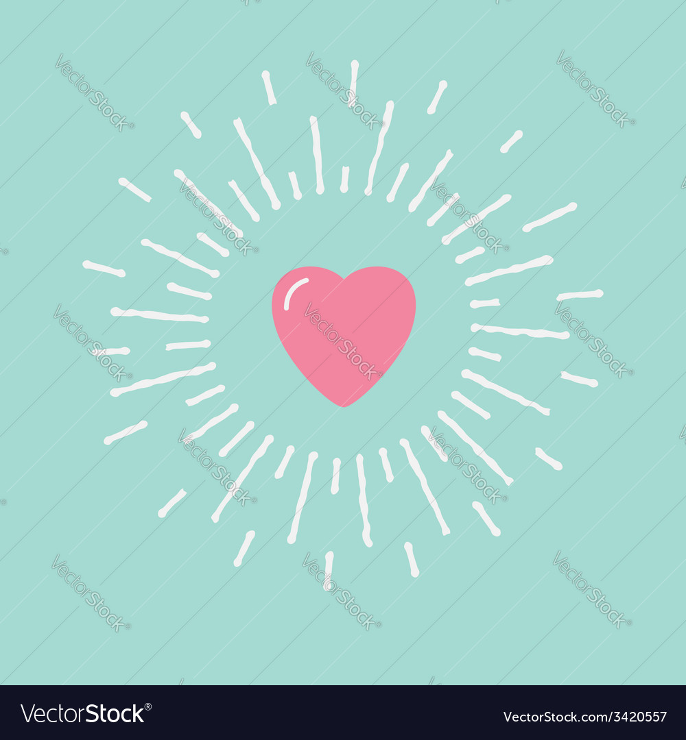 Big pink shining heart flat design vector | Price: 1 Credit (USD $1)