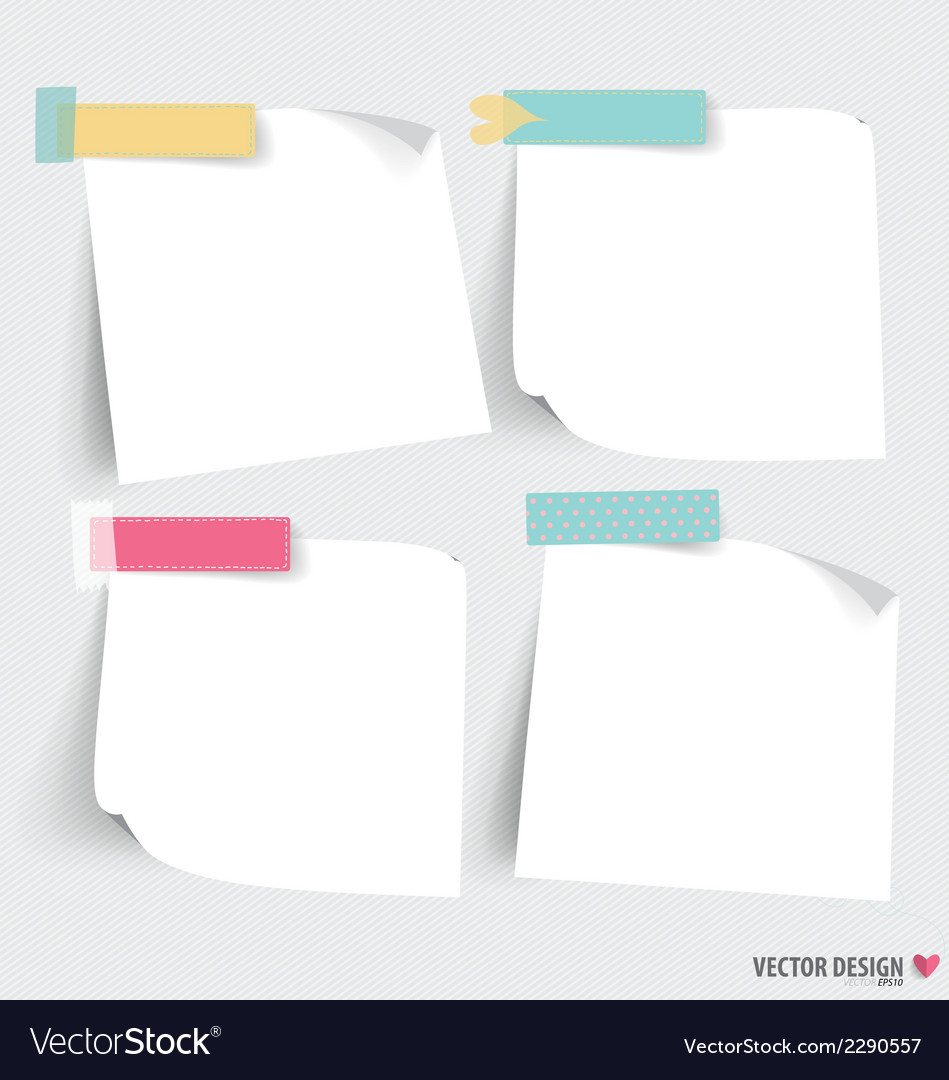 Cute note papers ready for your message vector   Price: 1 Credit (USD $1)