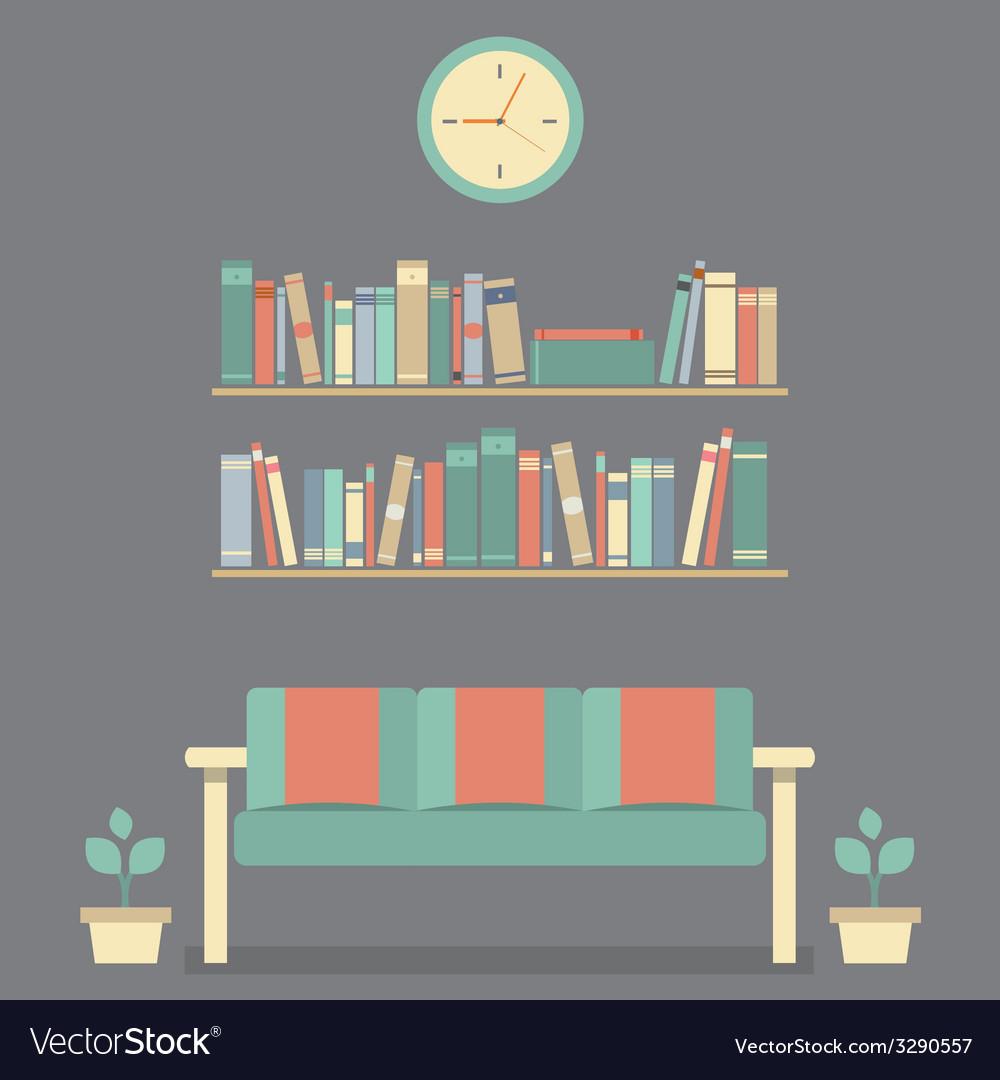 Flat design interior vintage sofa and bookshelf vector   Price: 1 Credit (USD $1)