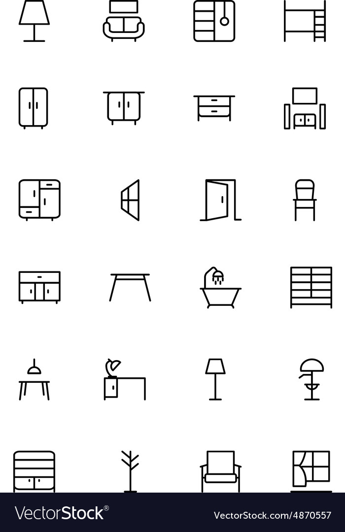 Furniture line icons 2 vector