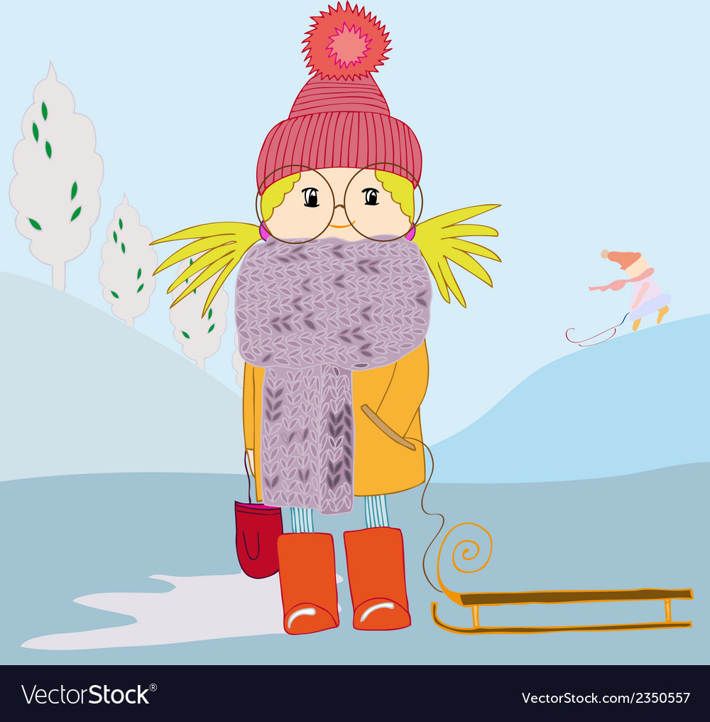 Girl in scarf and with a sledge vector | Price: 1 Credit (USD $1)