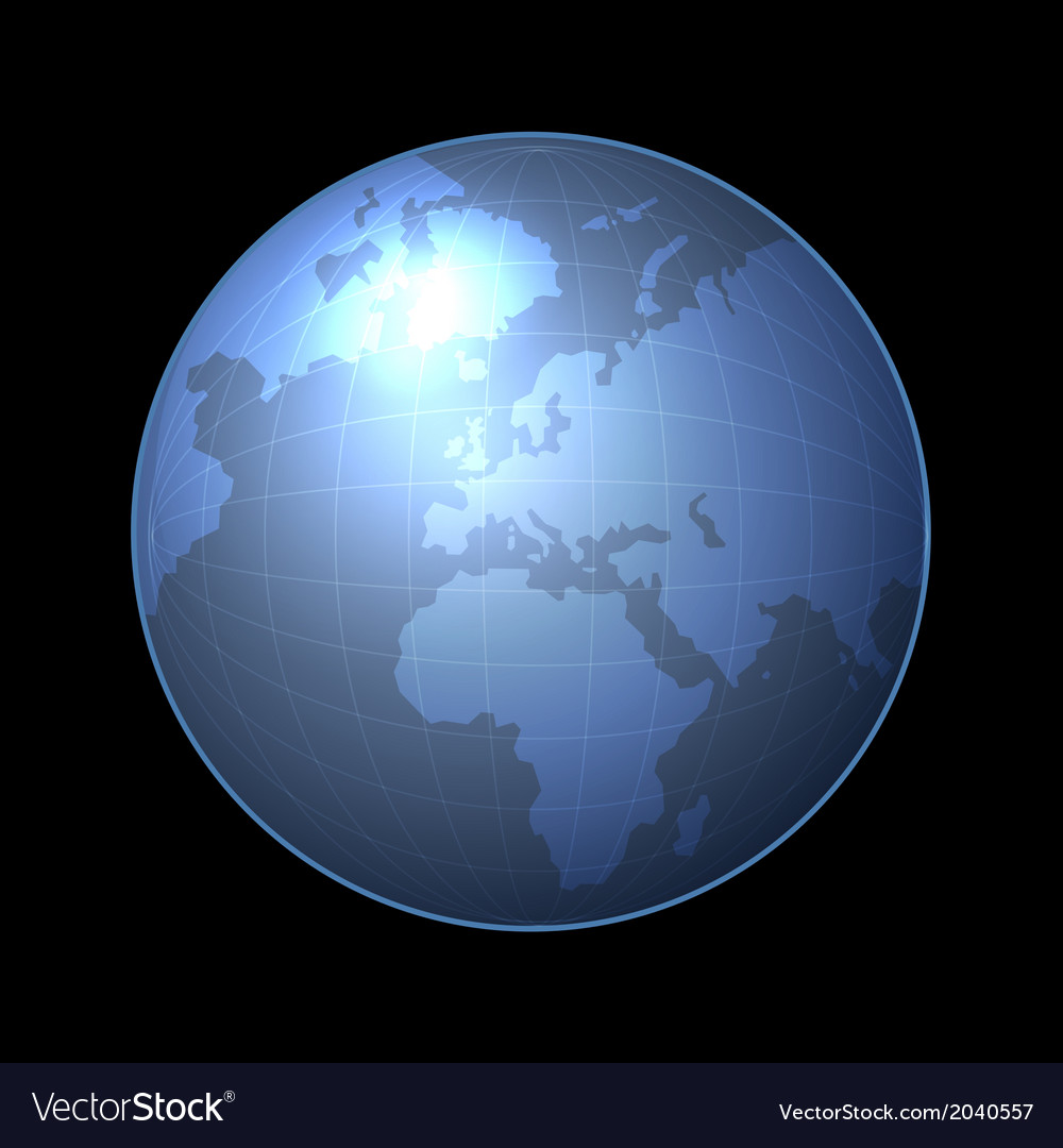 Globe icon with light map of the continents vector | Price: 1 Credit (USD $1)
