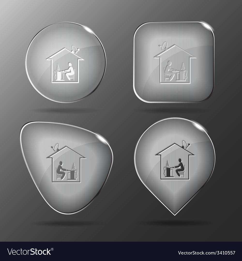 Home work glass buttons vector | Price: 1 Credit (USD $1)