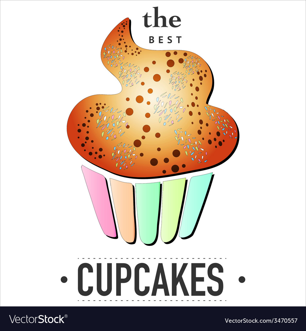 Isolated cupcake on white background eps 10 card vector | Price: 1 Credit (USD $1)