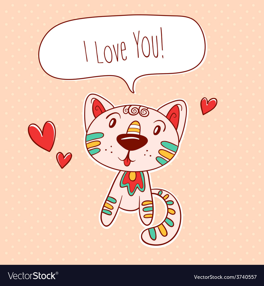 Kitty in love vector | Price: 1 Credit (USD $1)