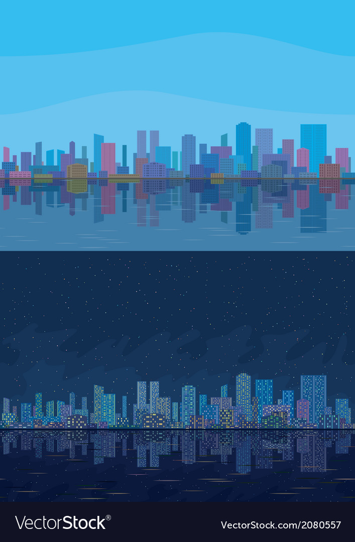 Night and day city landscape vector | Price: 1 Credit (USD $1)