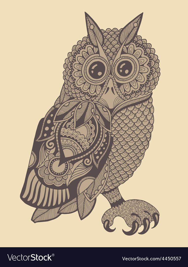 Original artwork of owl ink hand drawing in vector | Price: 1 Credit (USD $1)