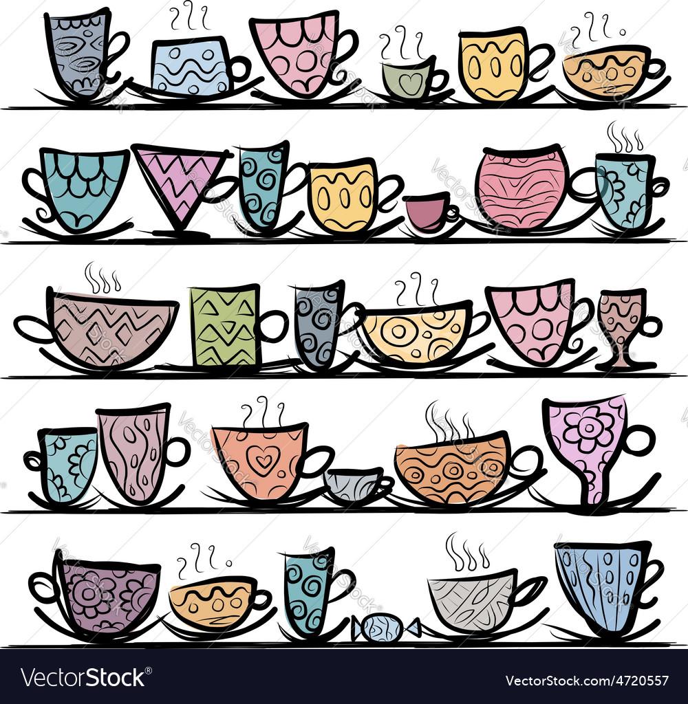 Ornate mugs on shelves sketch for your design vector | Price: 1 Credit (USD $1)