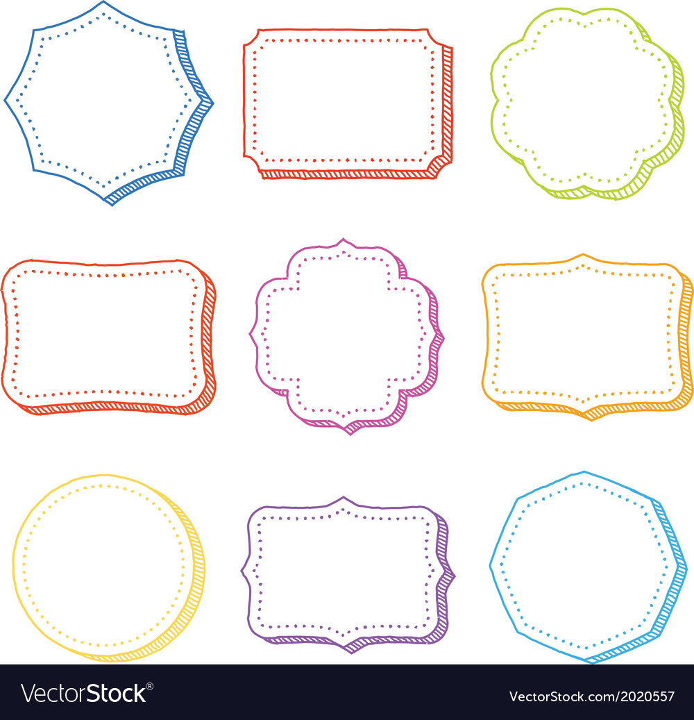 Set of hand drawn frames vector | Price: 1 Credit (USD $1)