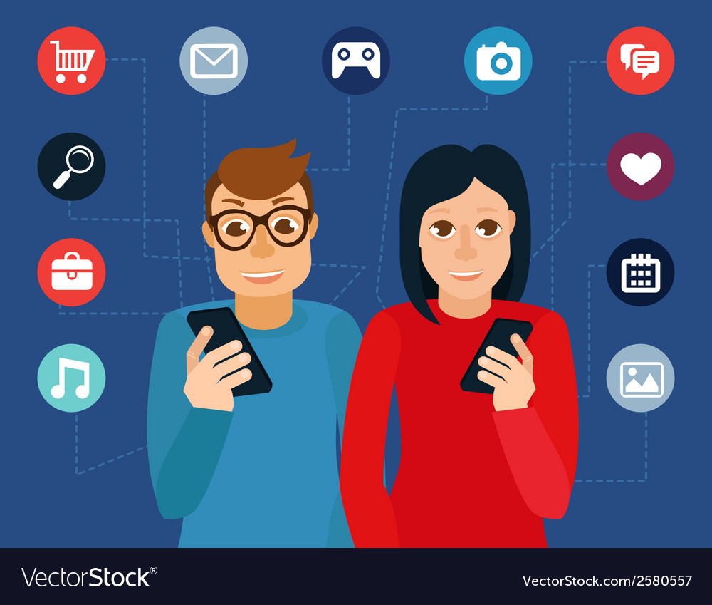 Social media addiction concept vector | Price: 1 Credit (USD $1)