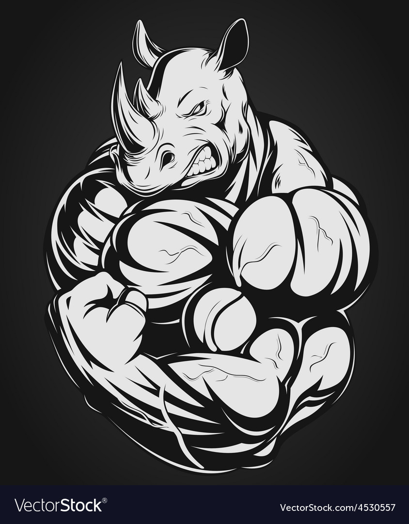 Strong rhinoceros vector | Price: 3 Credit (USD $3)