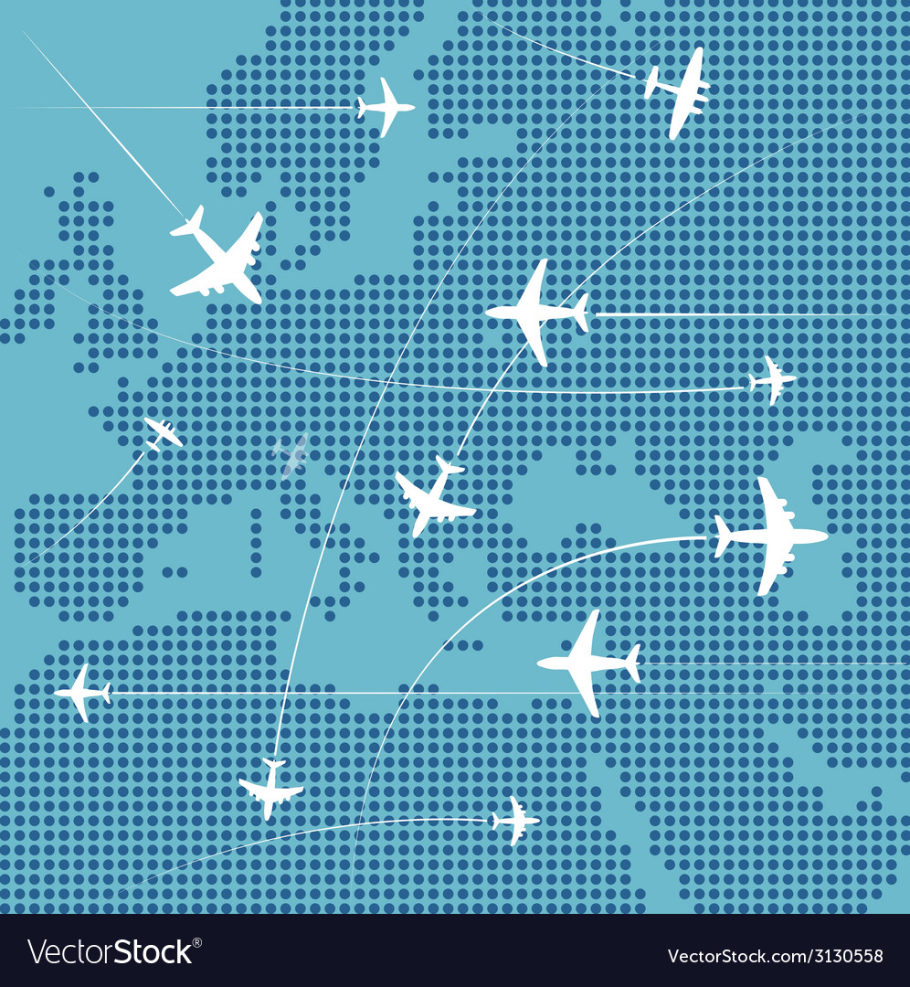 Airplanes flying over the abstract map of europe vector | Price: 1 Credit (USD $1)